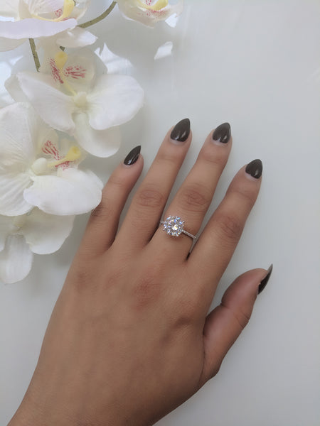 Silver Romance Ring - Round Cut Floating Cubic Ziroconia Sterling Silver Ring