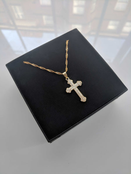 Bless You Cross Gold Necklace