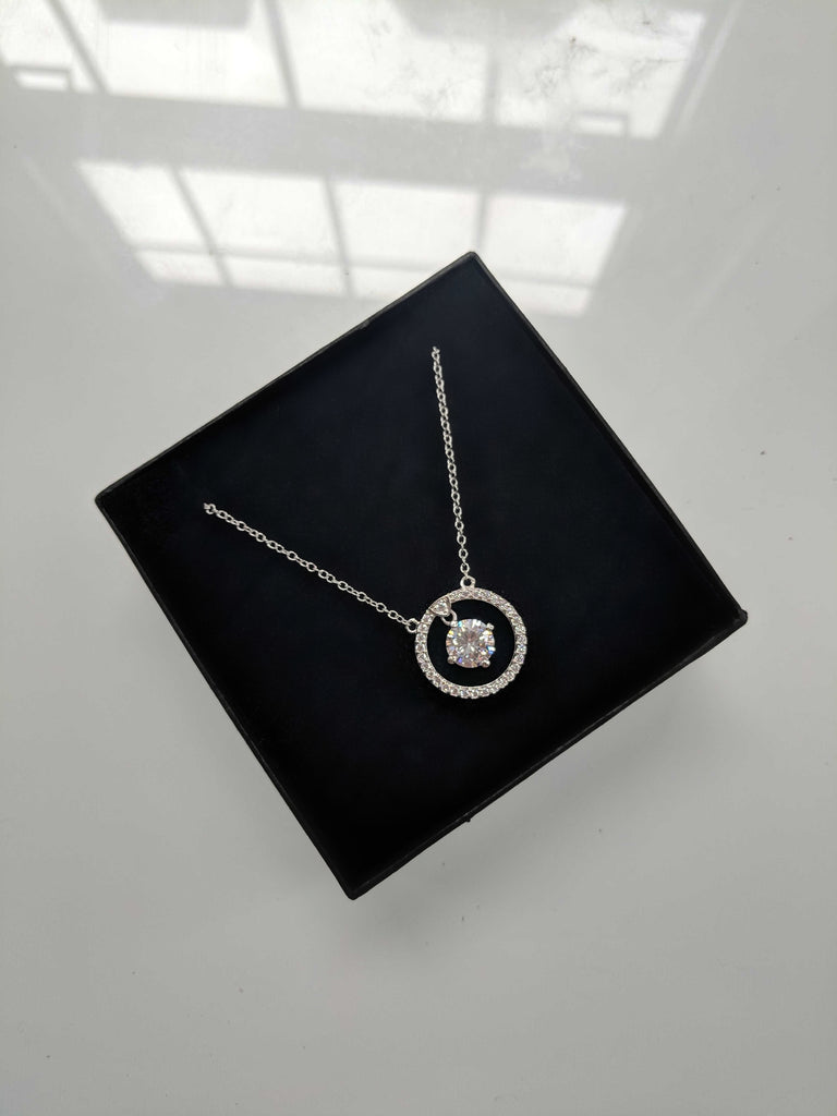 circle cubic zirconia paved necklace with large diamond shape cubic zirconia silver platinum plated