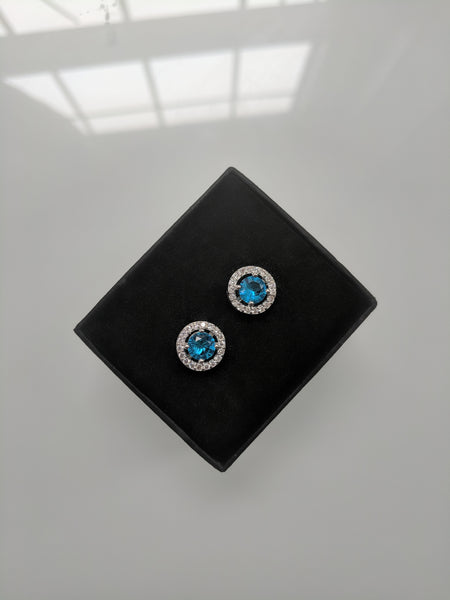 The Blue Princess Studs - Round Cut Sky Blue Cubic Zirconia Silver Studs