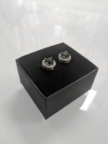 The Emerald Princess Studs - Round Cut Emerald Green Cubic Zirconia Silver Studs