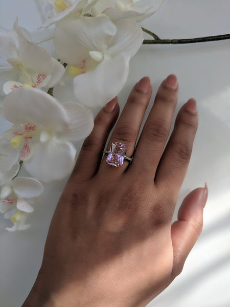 Pink Hollywood Ring - Extra Large Emerald Cut Pink Cubic Zirconia Sterling Silver Ring