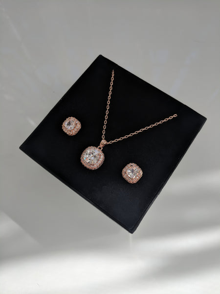 Mini Monroe Set - Cushion Cut Rose Gold Necklace and Studs Set