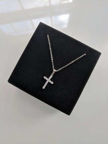 Baby Cross Necklace - Small Silver