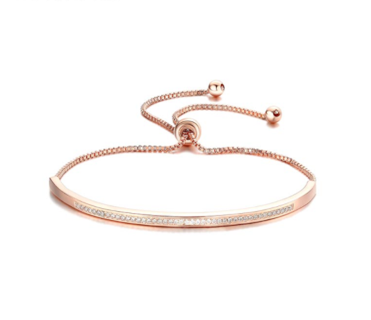 woman's cubic zirconia paved thin adjustable rose gold plated fashion bracelet
