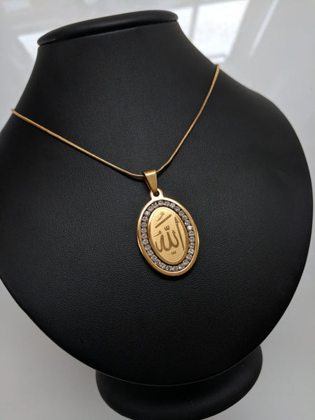 luxury gold coin Allah fashion pendent with thin snake chain