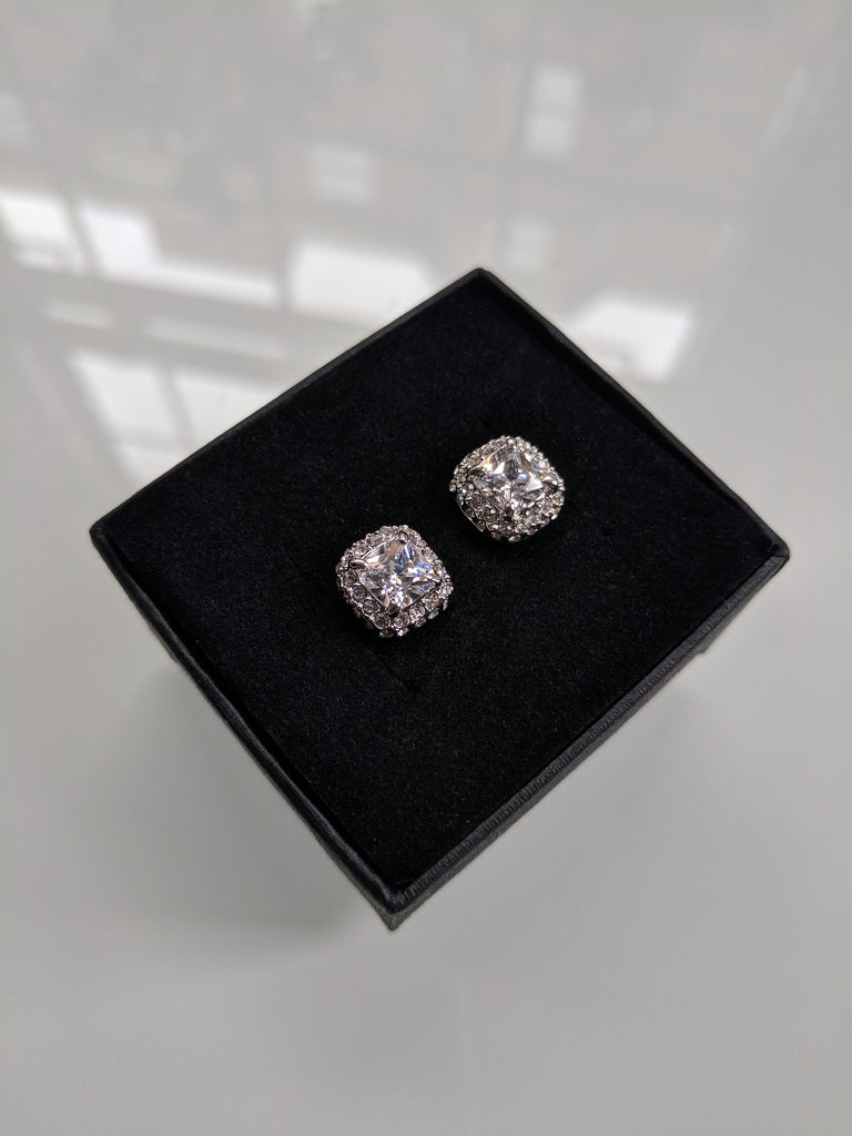 Mini Monroe Studs - Cushion Cut Cubic Zirconia Platinum Plated Studs