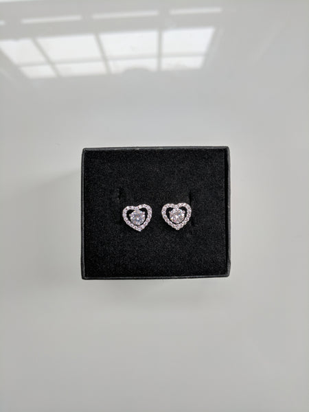 Angels Love Heart White Gold Studs
