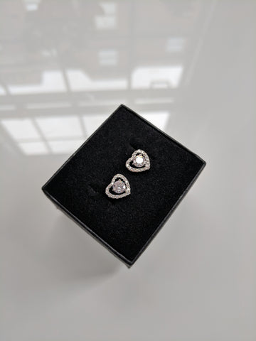 love heart studs silver cubic zirconia diamond