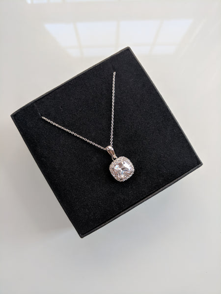 Mini Monroe Set - Cushion Cut Platinum Plated Necklace and Studs Set