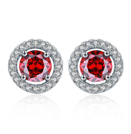 The Red Princess Studs - Round Cut Red Cubic Zirconia Silver Studs