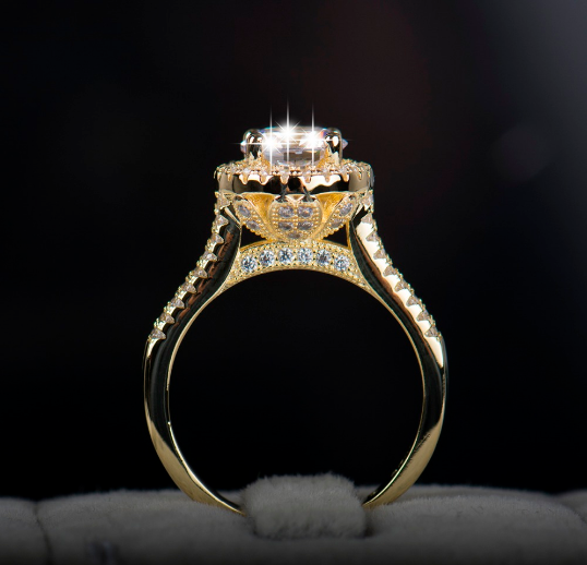 gold plated princess cut Eiffel tower fashion ring