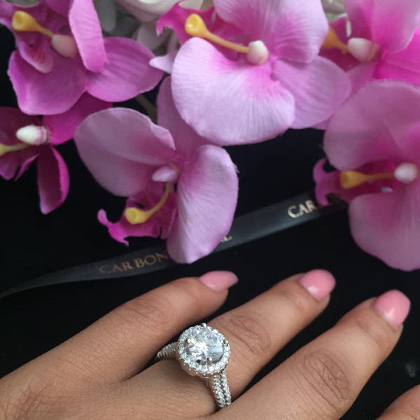 Stirling silver round cut Eiffel tower promise ring with flowers