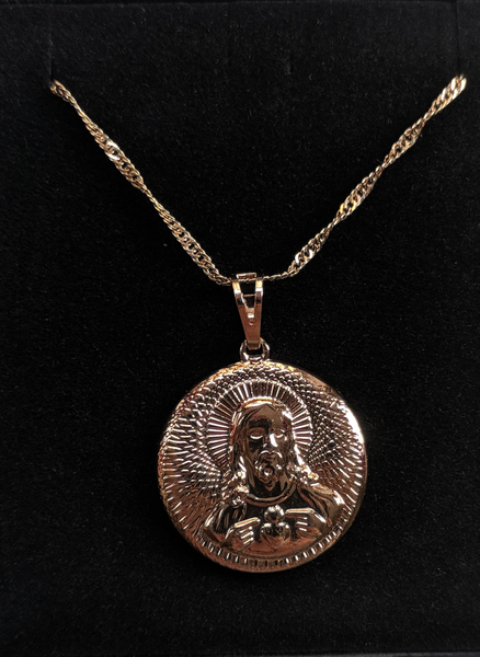 Jesus Gold  Coin Necklace