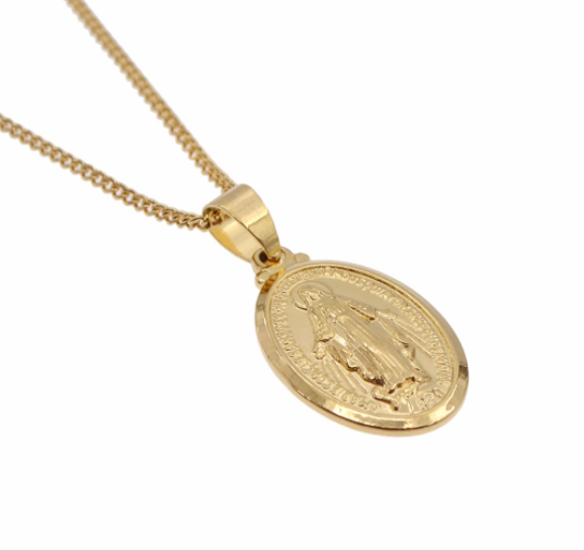 Mother Mary Gold Necklace