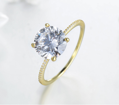 Gold Romance Ring - Round Cut Floating Cubic Ziroconia Gold Plated Ring