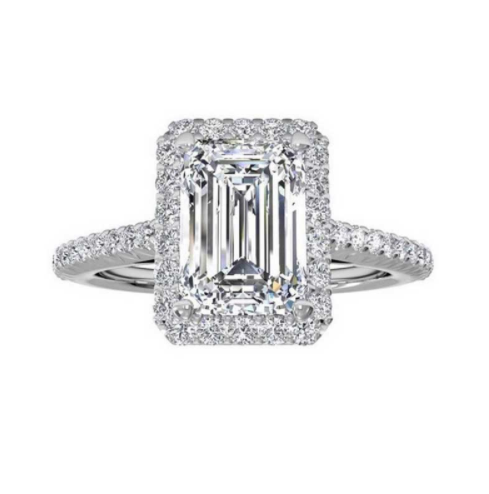 Affordable fashion silver square engagement style ring