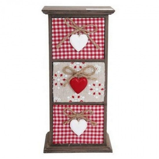 Cream and Red Heart Set of 3 Drawers - Feeling Quirky