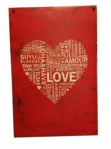 RED HEART METAL HANGING SIGN - Feeling Quirky