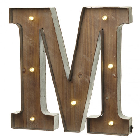 Large Light Up Letter 'M' Sign With LED