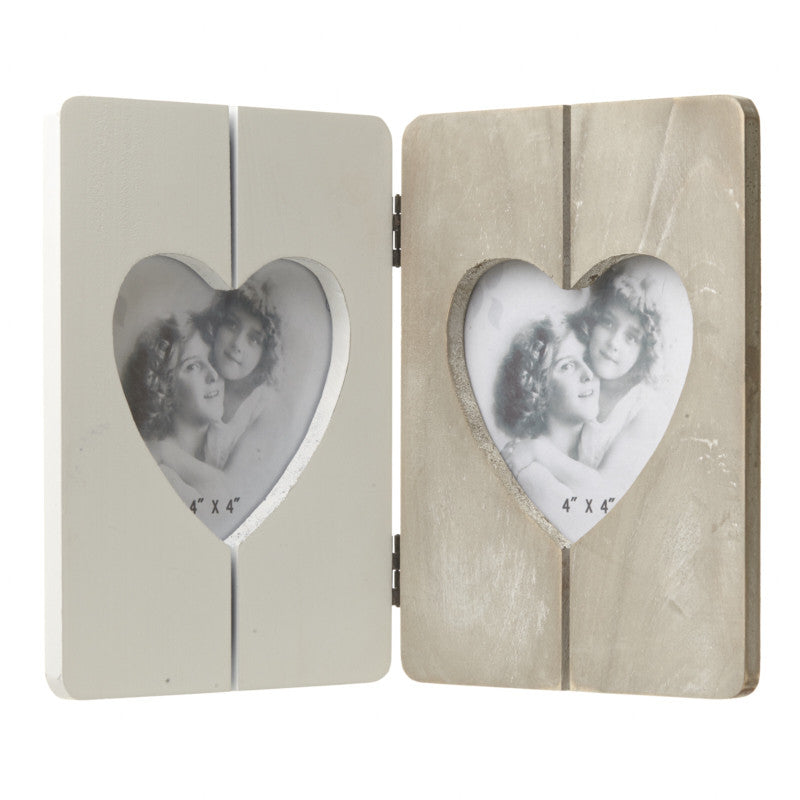 Wooden Double Heart Frame