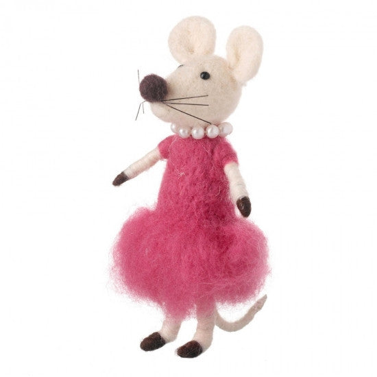 Wool Mouse In Pink Dress & Pearls
