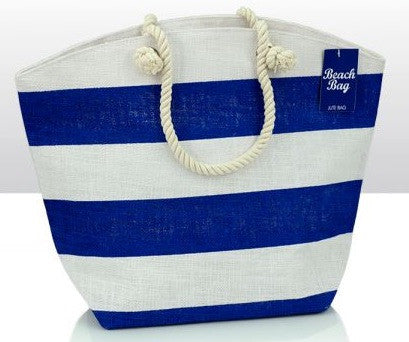Blue Stripe Jute Beach Bag