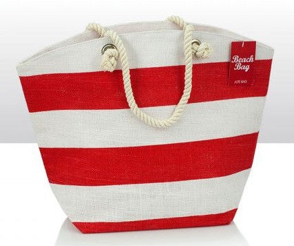 Red & White Jute Beach Bag