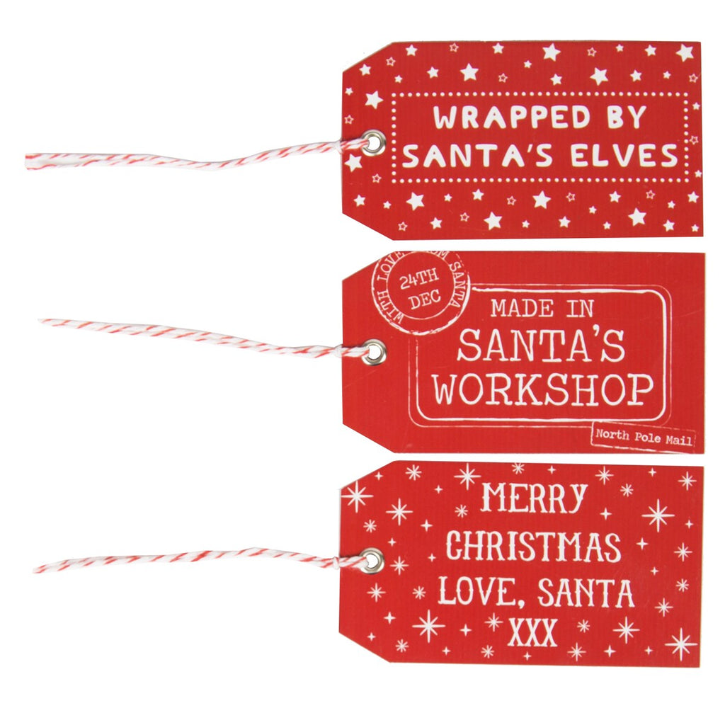 Set Of 15 Red Santa's Workshop Gift Tags