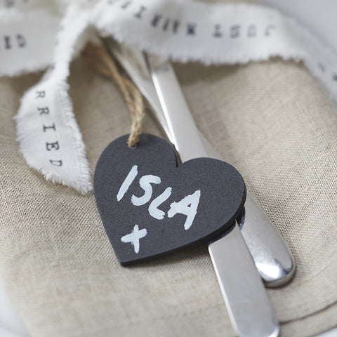 Vintage Themed Chalkboard Heart Tags - Feeling Quirky