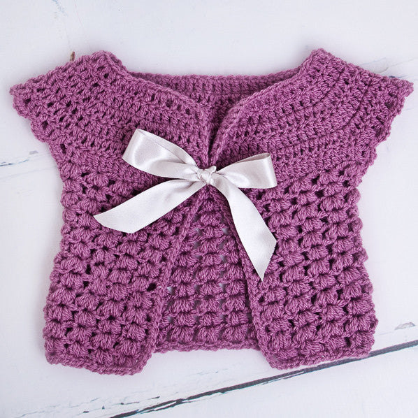 Handmade Aubergine Cardigan With Satin Bow - Feeling Quirky