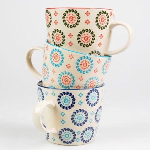 SET OF 3 BOHEMIAN MUGS