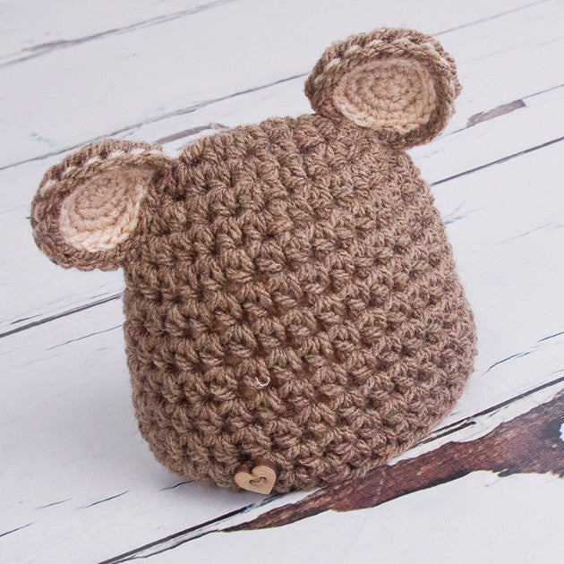 Hand Knitted Newborn Teddy Bear Ears Hat - Feeling Quirky