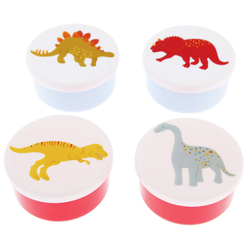 SET OF 4 SMALL ROUND DINOSAUR SNACK BOXES - Feeling Quirky
