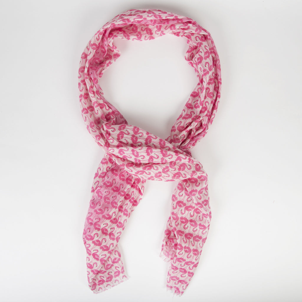 TROPICAL FLAMINGO PRINT SCARF