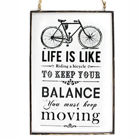 'Life Is Like Riding A Bicycle' Glass Hanging Plaque - Feeling Quirky