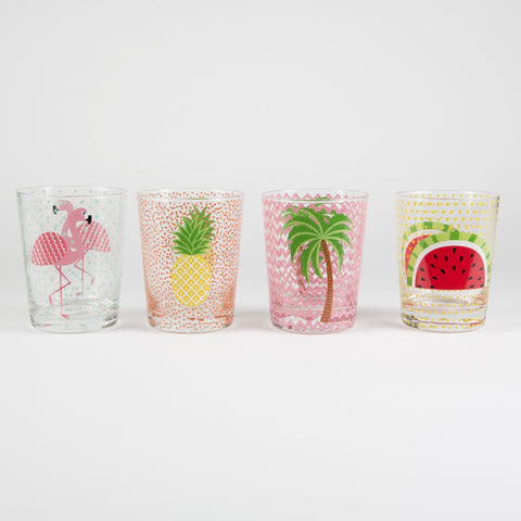 TROPICAL SUMMER GLASS TUMBLER ASSORTED - Feeling Quirky
