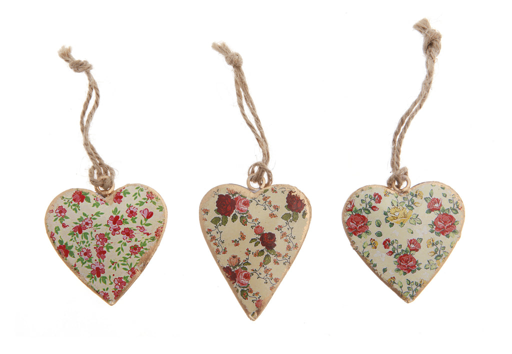 Poppy mini metal hanging heart ornament set of