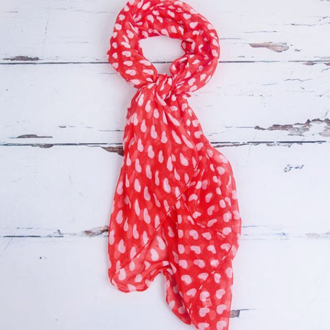 Red & White Chiffon Heart Scarf