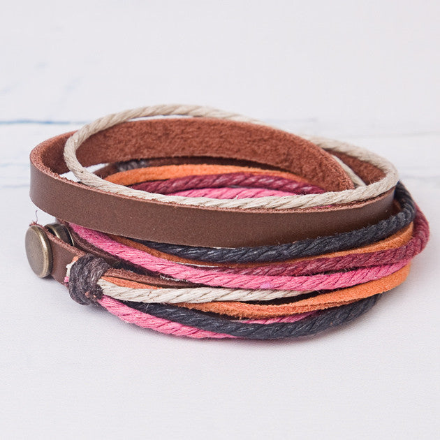 Colourful Leather Wrap Bracelet - Feeling Quirky