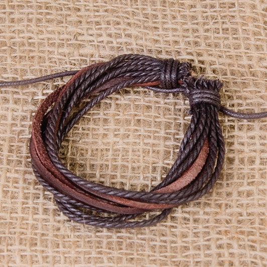 Mens Brown Leather Wrap Bracelet - Feeling Quirky
