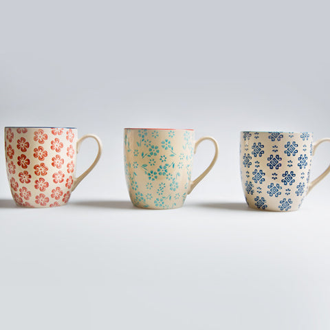 3 New Folk Stamped Mugs