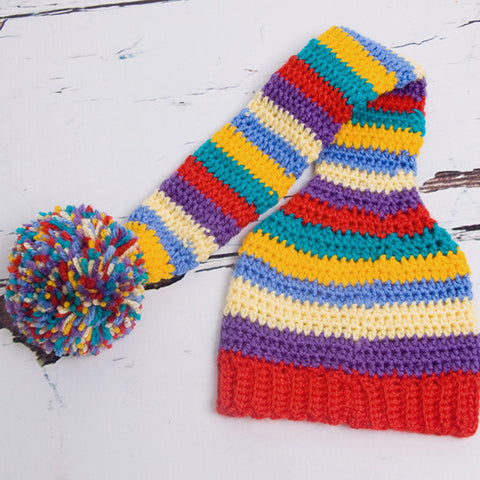 Crocheted Multi Coloured Striped Newborn Pixie Hat - Feeling Quirky
