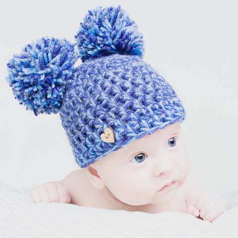Blue Handmade Newborn Pom Pom Hat - Feeling Quirky