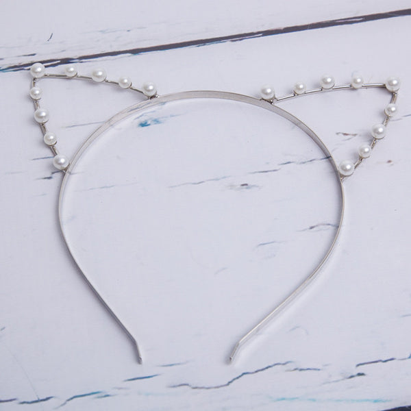 Pearl & Silver Kitten Ear Headband - Feeling Quirky