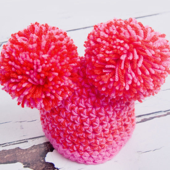 Hand Knitted Newborn Pink Pom Pom Hat - Feeling Quirky
