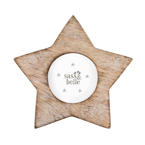 Star Shaped Wood Effect Photo Frame