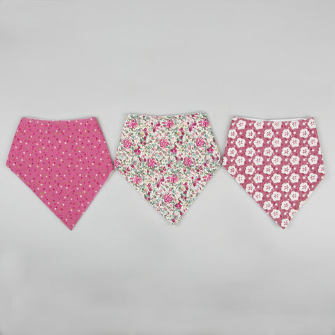 3 Pretty Pink Baby Girls Bibs - Feeling Quirky