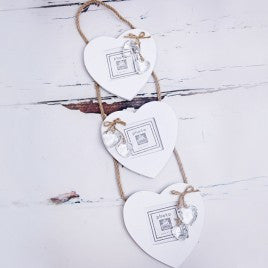 3 Hanging Hearts White Wooden Photo Frame - Feeling Quirky