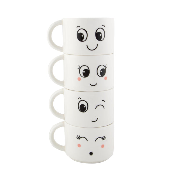 Set Of 4 Fun Faces Stacking Mugs